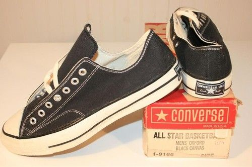 0022e66f69aa Vintage New Old-Stock Converse All Star Chuck Taylor Black Label Tag  Sneakers Black low