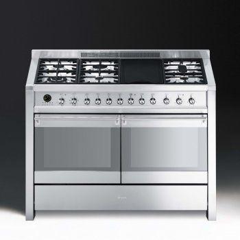 120 smeg opera a4 8 dual fuel 120cm range cooker   stainless steel with chrome 120 smeg opera a4 8 dual fuel 120cm range cooker   stainless steel      rh   pinterest co uk