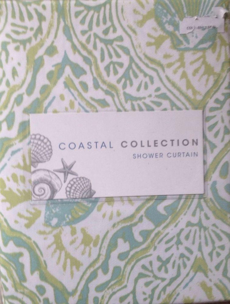 Coastal Collection Batik Shell Green Aqua Shower Curtain New