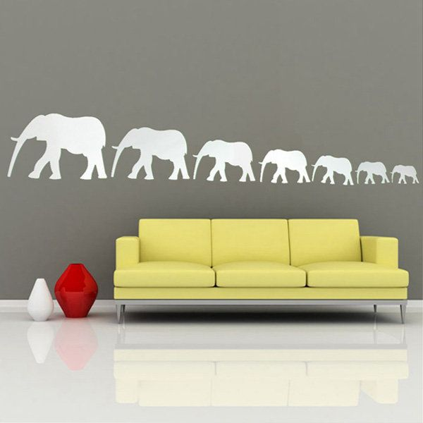 DIY Acrylic Seven Cute Elephants Mirror Wall Stickers Home Decor Art ...