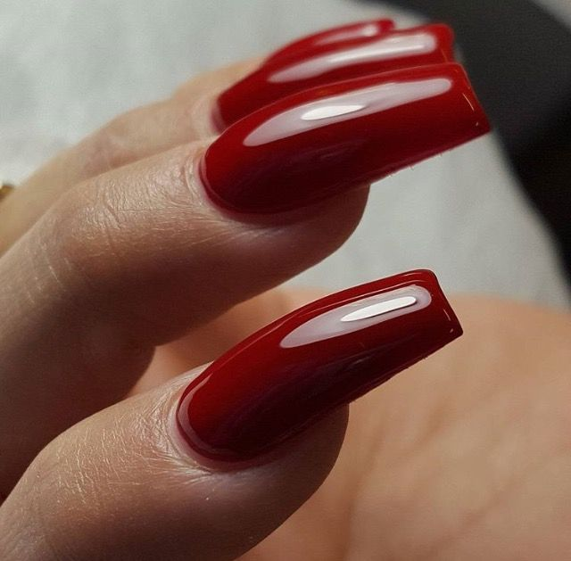Dark Red Coffin Long Square Nails Red Acrylic Nails Long Square Nails Red Nails