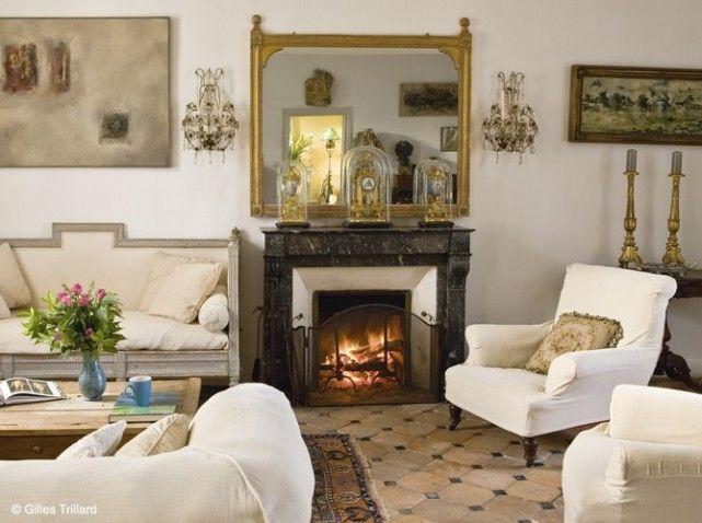 D coration salon avec chemin e id e d co pinterest salon chic chemin e - Deco cheminee ancienne ...