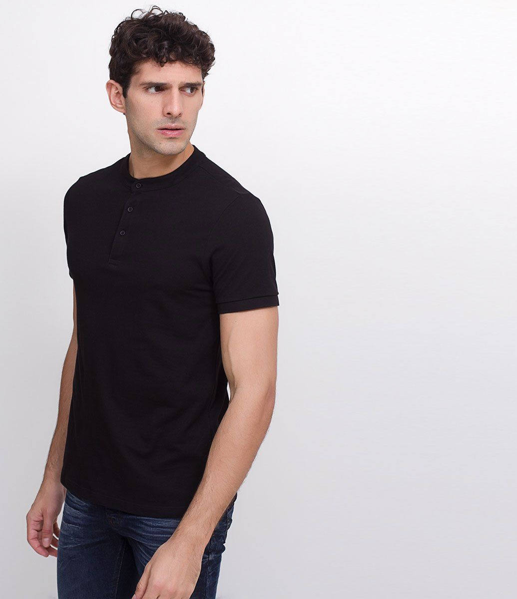 Camisa masculina Manga curta Gola padre Básica Com botões Marca  Request  Tecido  p iquet d0b4e1a24cd0f