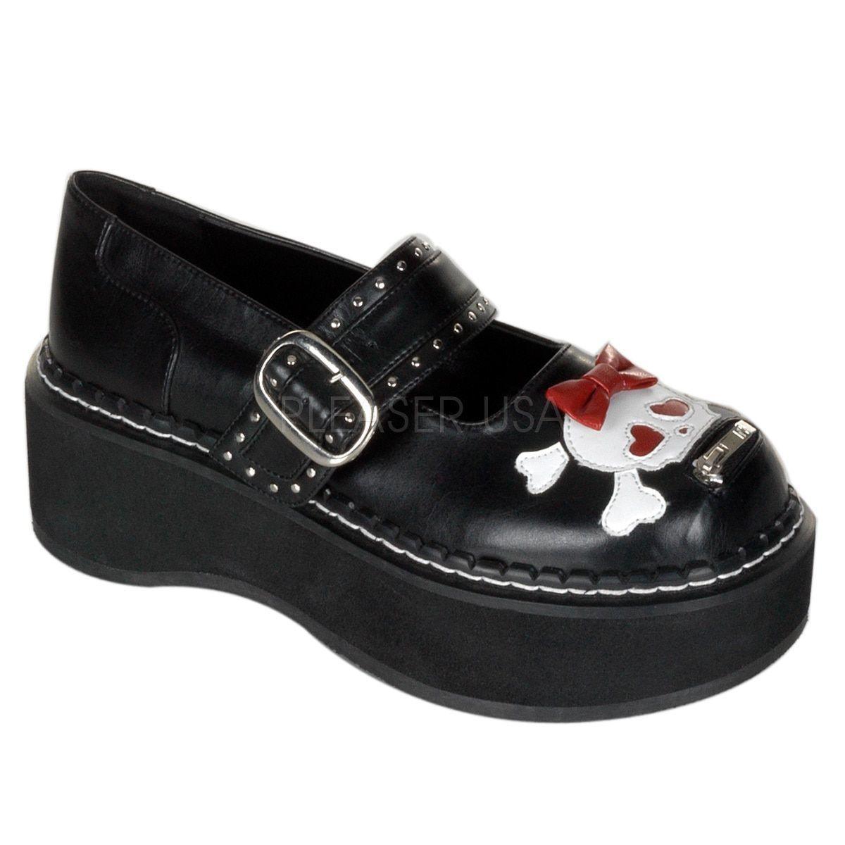 99c0bd0c274d5c Demonia Women s  Emily-221  Skull Mary Jane Platform Shoes ...