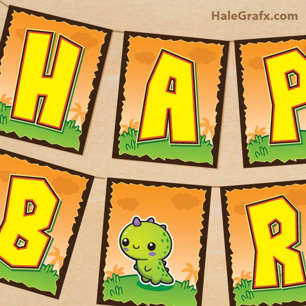 Free Printable Kawaii Dinosaur Birthday Banner Happy Birthday Banner Printable Birthday Banner Free Printable Dinosaur Birthday Invitations