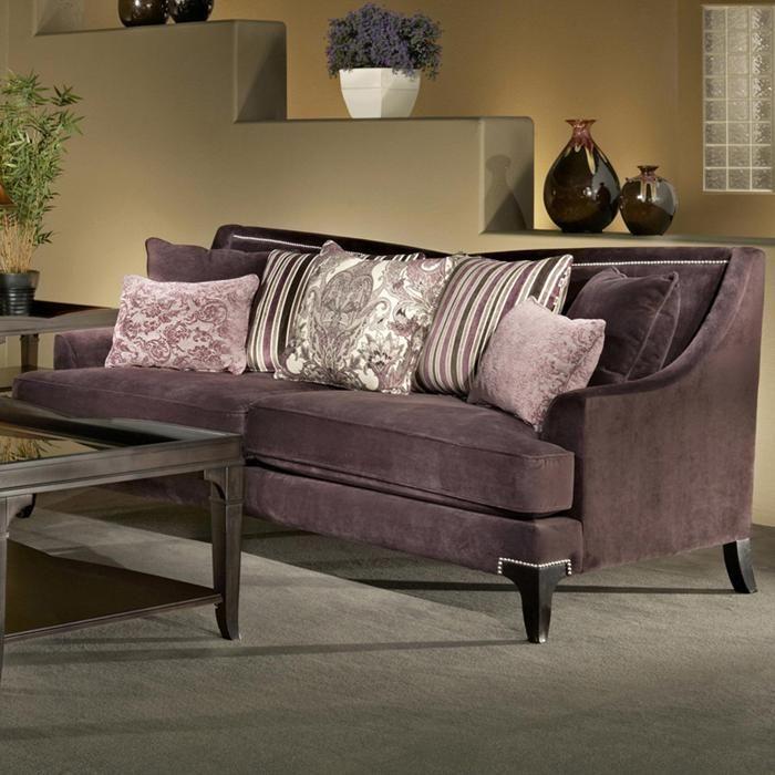 Traditional Purple Microfiber Sofa With Nailhead Trimming Nebraska Furniture Mart Living Room Collections Furniture Living Room Sets #nebraska #furniture #living #room #sets