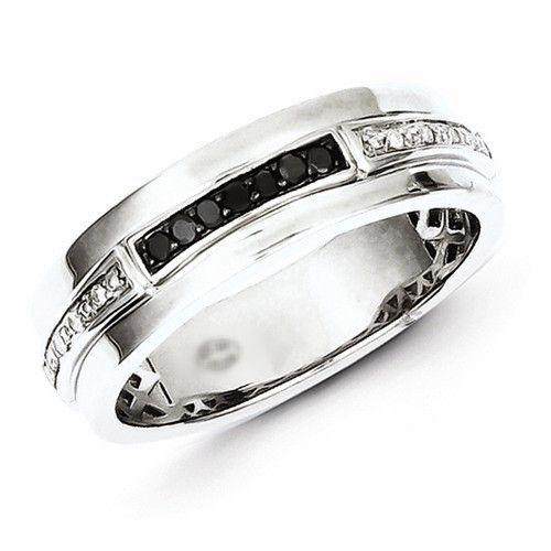 Sterling Silver White Black Diamond Mens Ring Black diamonds