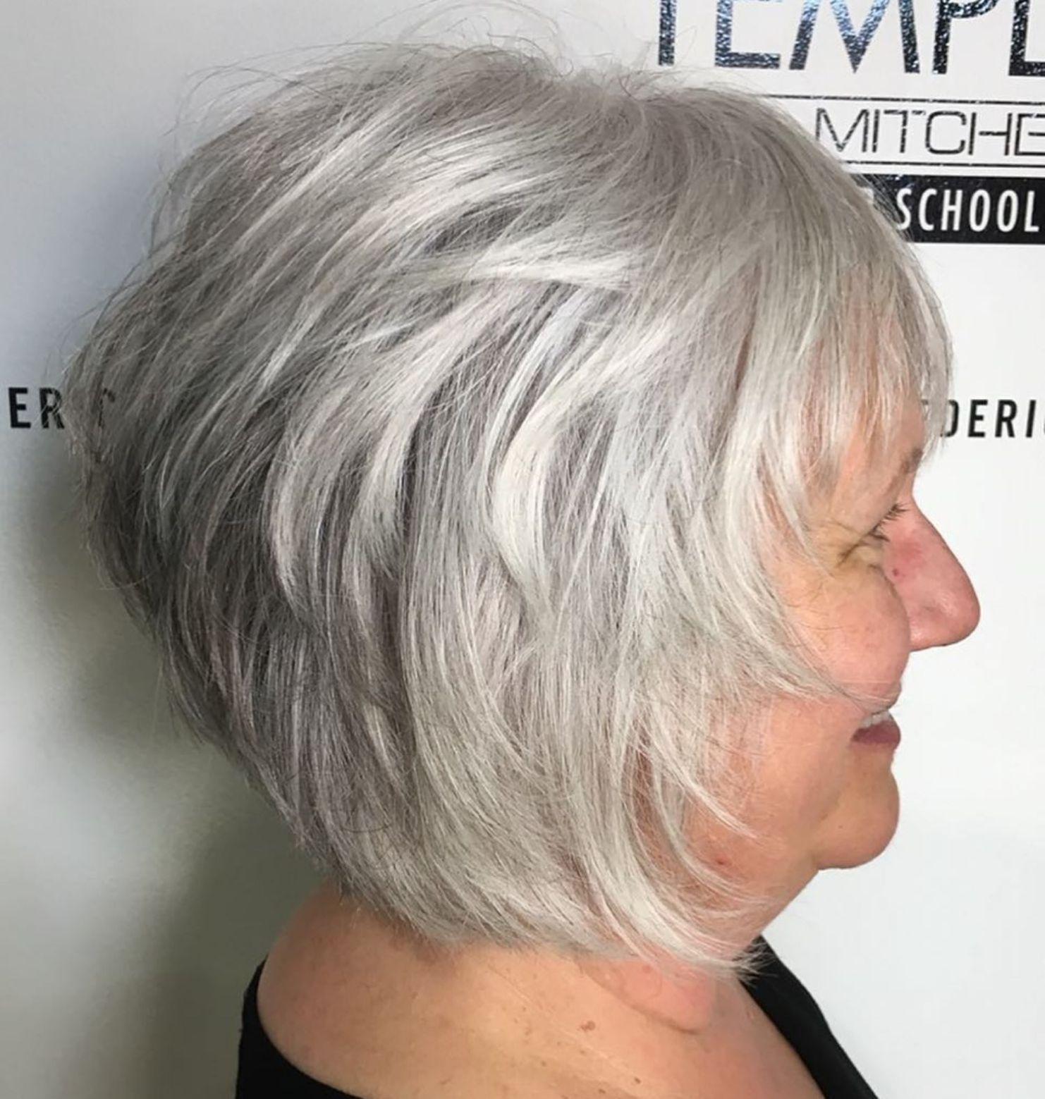 Short Feathered Natural Gray Bob Hairstyle Grey Bob Hairstyles Gorgeous Gray Hair Hair Styles
