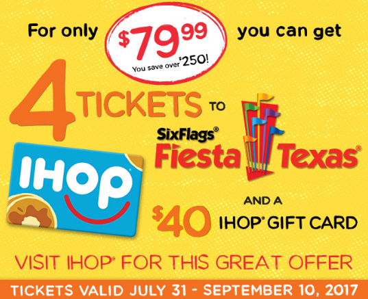 4 Six Flags Fiesta Texas Tickets A 40 Ihop Gift Card For 79 99 Six Flags Fiesta Texas Ihop Fiesta