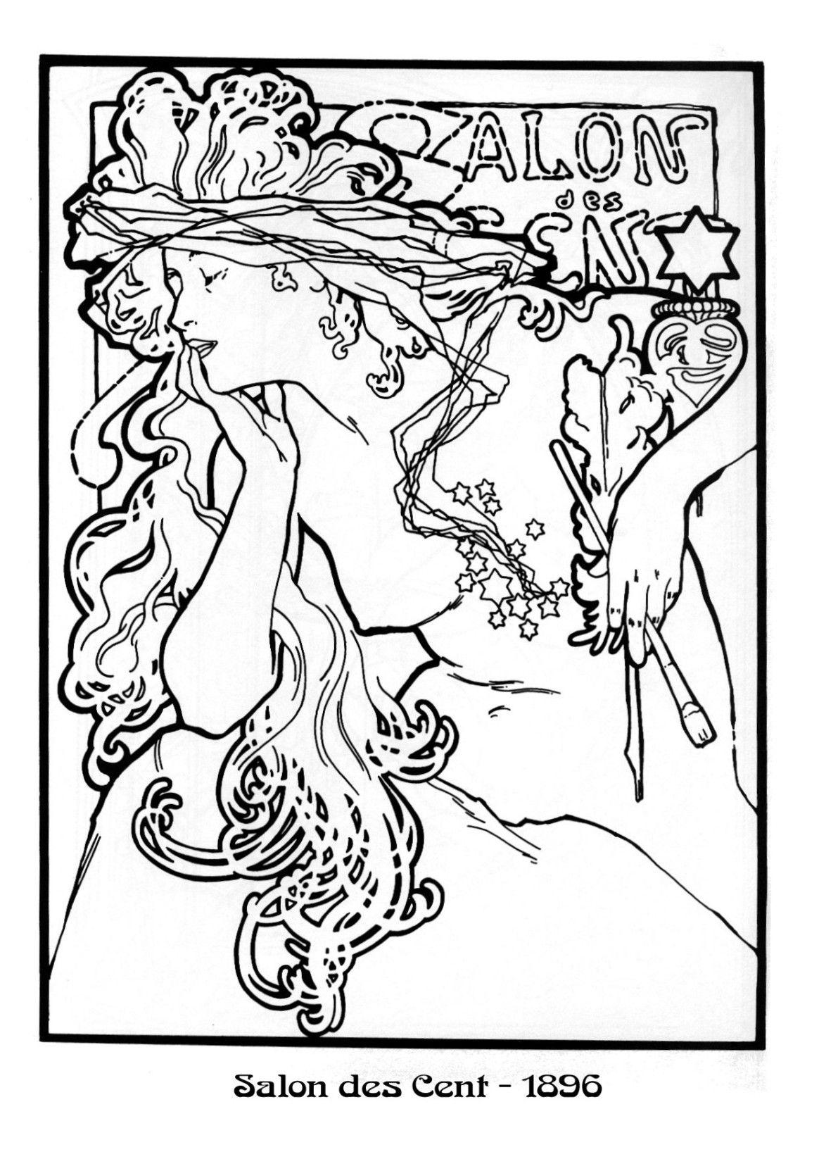 Kleurplaten Naar A Mucha Pin Via Dromenvangers Winkeltje Patroon Tekening Prent Sjabloon Salon De Mucha Art Alphonse Mucha Art Art Nouveau Illustration