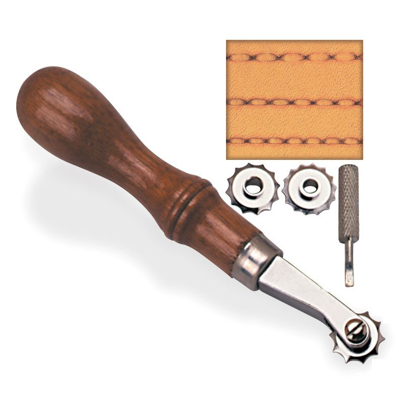 One handle, 3 interchangeable spacing/overstitch wheels and a small screwdriver make this a handy addition to your tool collection.  Wheel sizes are 5, 6 and 7 holes per inch.