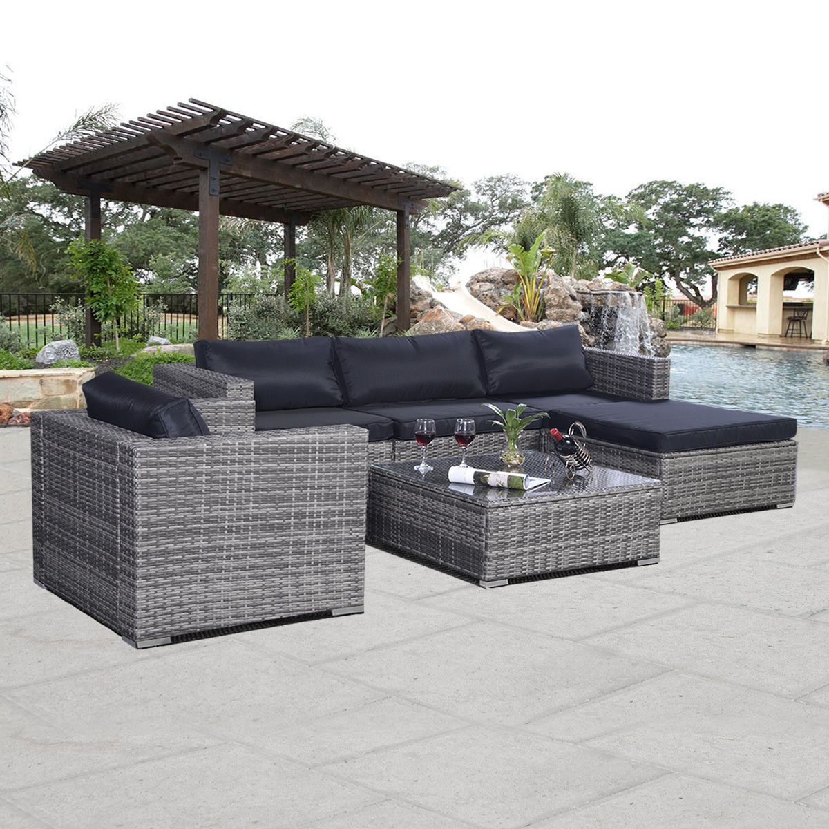 6pc furniture set patio sofa pe gray rattan couch black cushion
