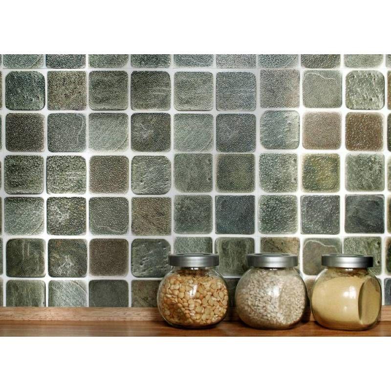 Self Adhesive Wall Tiles For Kitchens And Bathrooms Slatestone Mosaic 4 X 4 Tiles 10cm X 10cm Self Adhesive Wall Tiles Wall Tiles Stick And Go Tiles