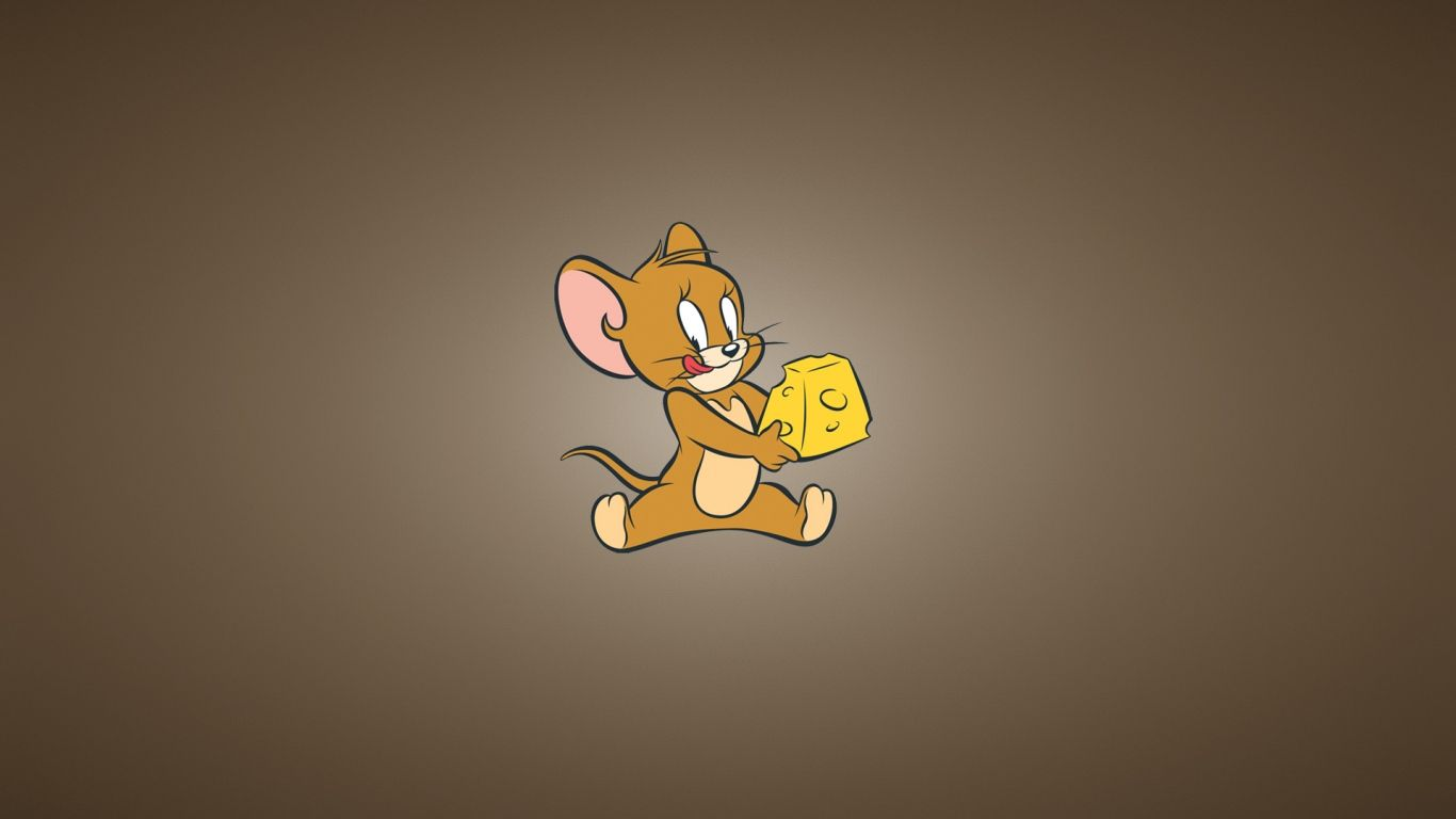 1366x768 wallpaper tom and jerry, cheese, mouse, minimalism | sai