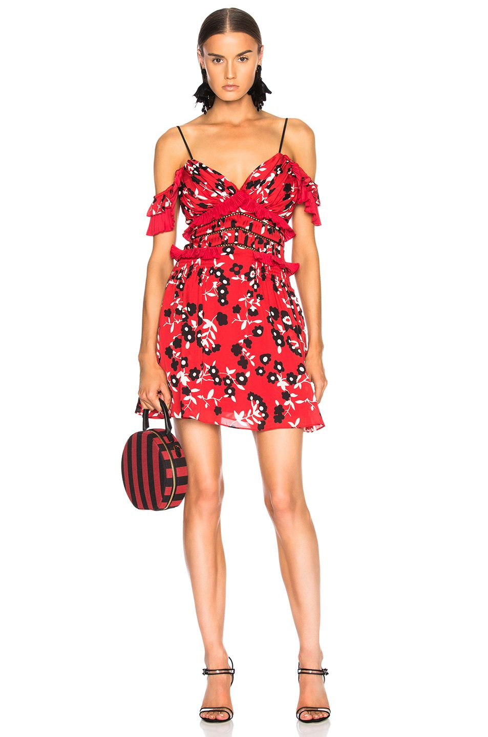 b1ead7dcdbbd SELF-PORTRAIT Cold Shoulder Floral Print Mini Dress. #self-portrait #cloth #
