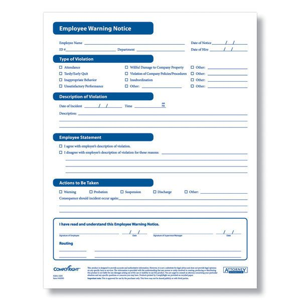 Employee Disciplinary Forms Template Pinterest