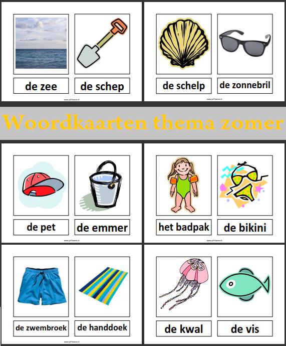 Woordkaarten thema zomer | nt2 1 | Pinterest | Wortschatz, Strände ...