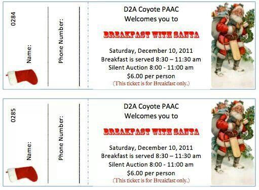 Pin By Tamara Finucan On Pto Santa Breakfast Event Ticket
