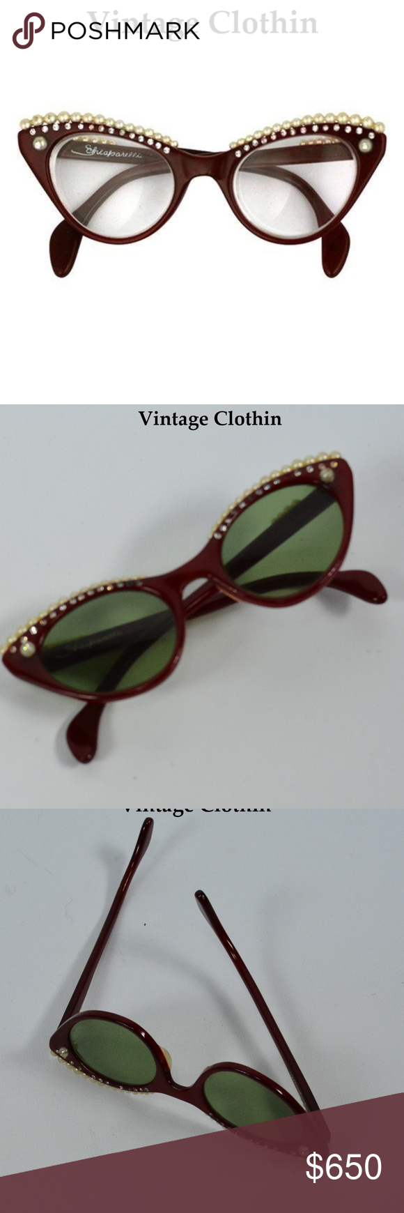 81ef52a939 Vintage 1958 Schiaparelli Cats Eye Sunglasses Rare!! Authentic Iconic 1958  Elsa Schiaparelli Lunettes Cats