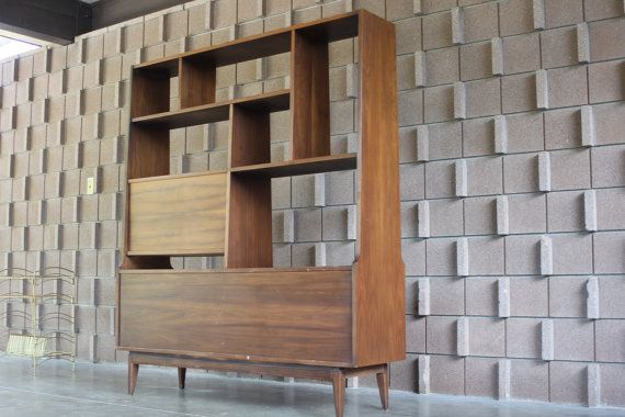 850. Back side of Mid-century Room Divider Bookcase by BlackButtonVintage on Etsy