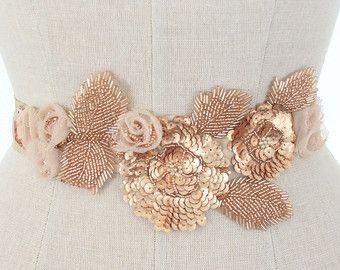 Rose Gold Wedding Belt, Beaded Bridal Sash, Sequin Floral Applique Rosette Garden Wedding Accessory, Rustic, Beach, Camilla Christine JENNY