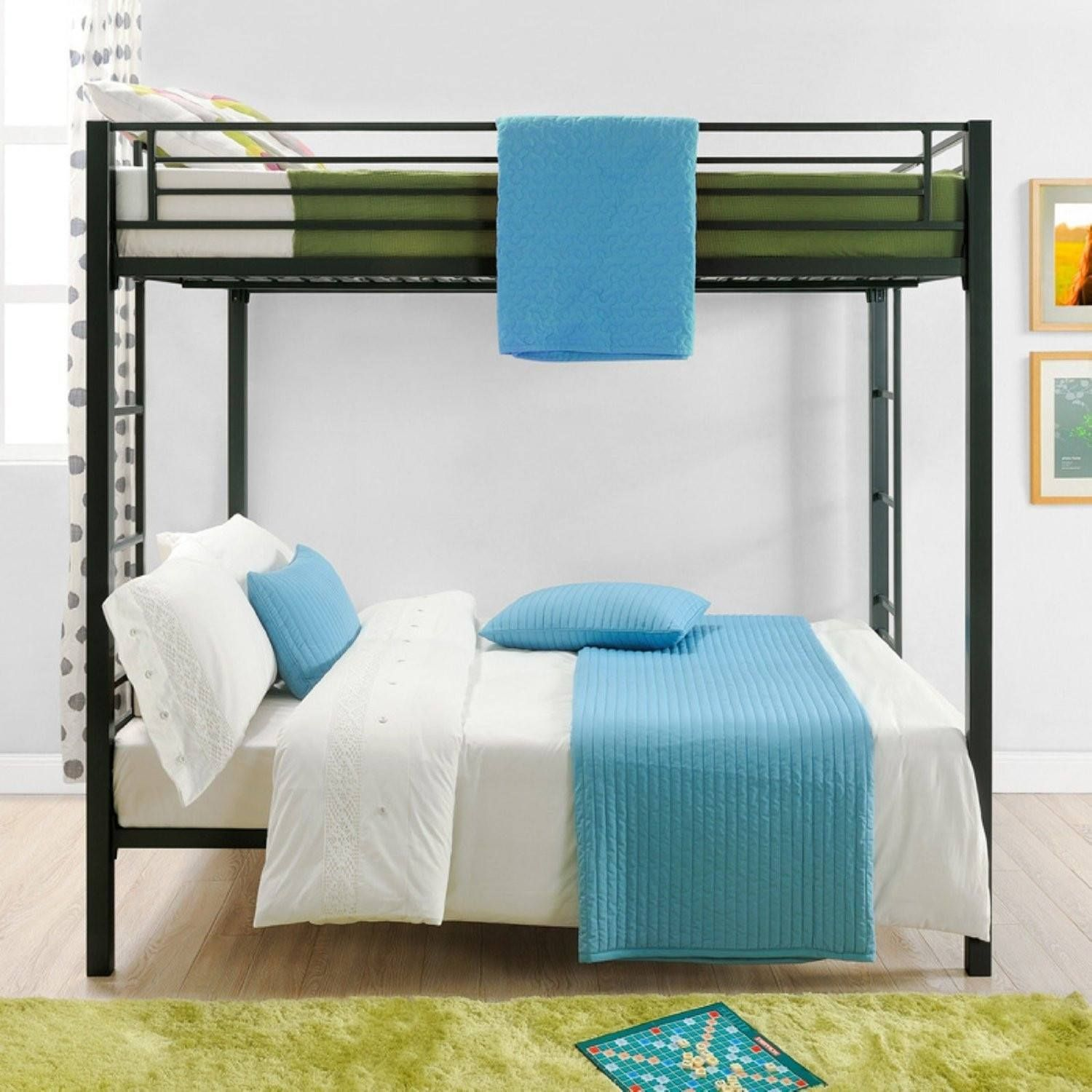 Full over Full size Sturdy Black Metal Bunk Bed Metal