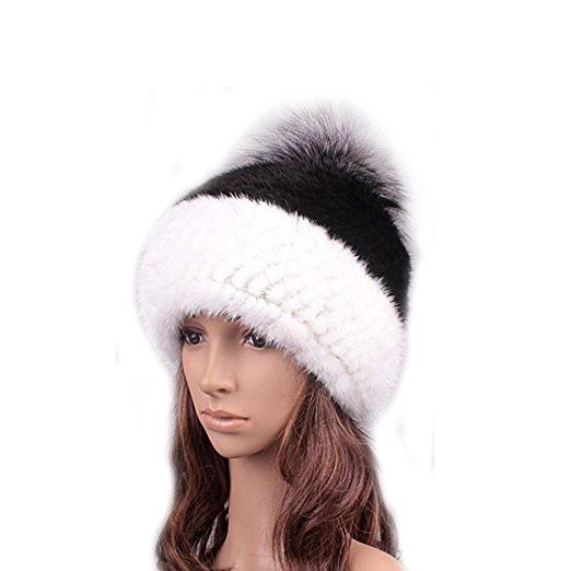 4c3b085f GREIFF Womens Trendy Warm Stretch Mink Fur Beanie Skully Winter Hat Cap
