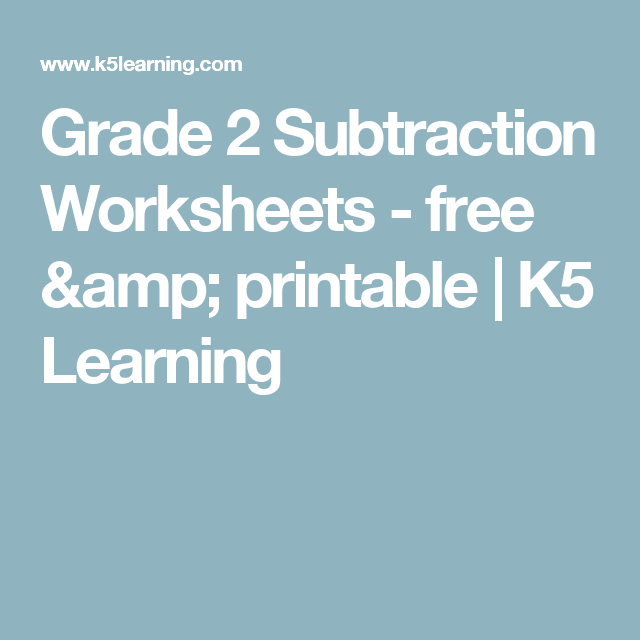 Grade 2 Subtraction Worksheets - free & printable | K5 Learning ...