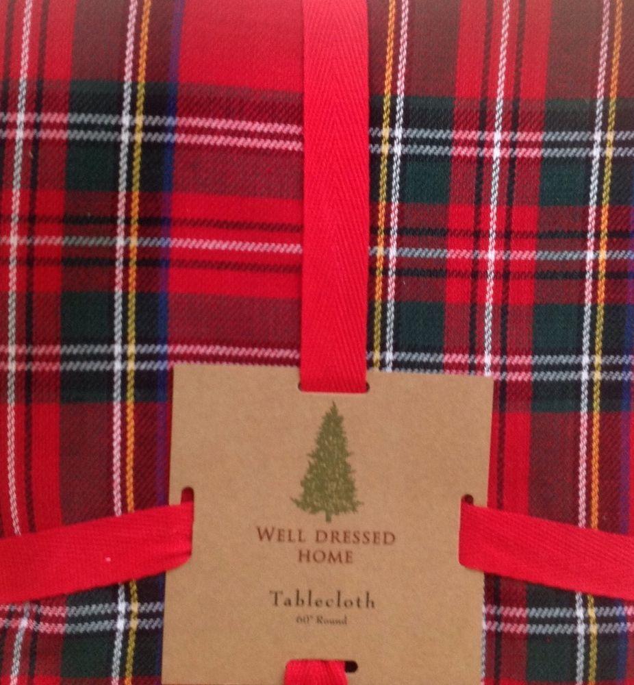 Well Dressed Home Tartan Plaid Tablecloth Round 60 Elegant Christmas New
