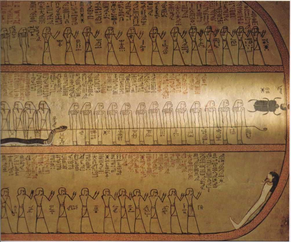 Illustrated texts like this one in the tomb of Amenhotep II served as spiritual guides for the deceased.