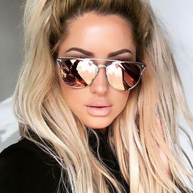 190d7b92e343 2016 QUAY Fashion Brand Designer Cat Eye Mirror Rose Gold Sunglasses Metal Lady  Flat Lens New UV 400 Women Or Men Sun Glasses Hot