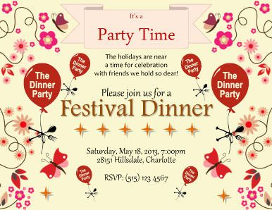 Festival Dinner Invitation Template  Diy Invitation Ideas