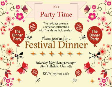 Festival Dinner Invitation Template Download Pinterest