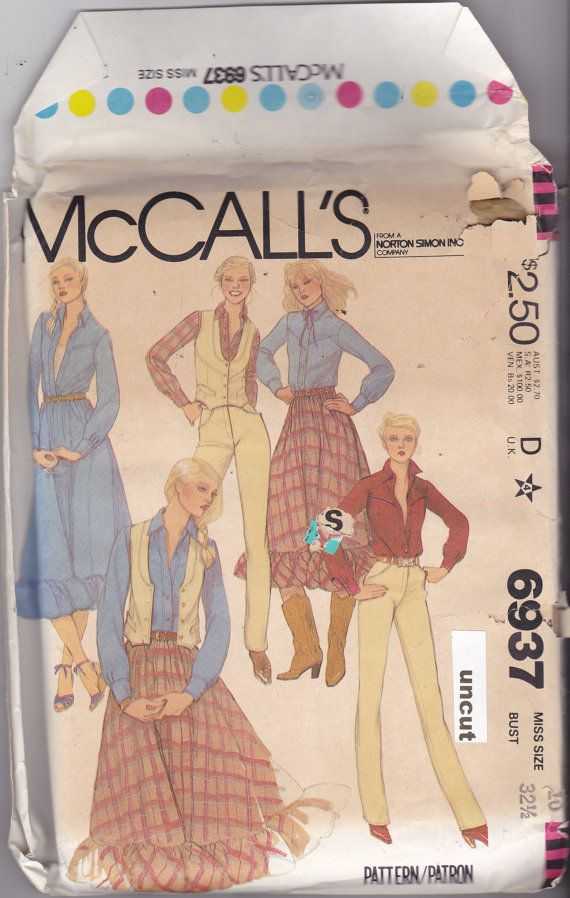 Mccalls 6937 Pattern Uncut 10 Bust 325 Western Skirt With Ruffle