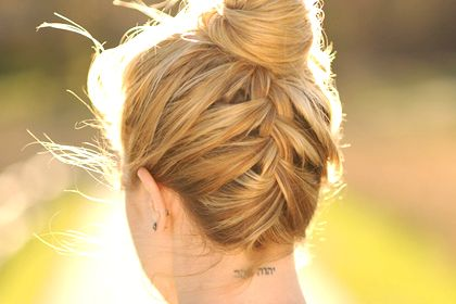 """TOPKNOT WITH FRENCH BRAID - How-to: """"Flip your head upside down and create a traditional French braid, starting at the nape of your neck, moving up your head,"""" says Sorbie. Once you reach the crown, pull hair into a high ponytail. Tie with an elastic, then wrap hair around the base and pin the ends. Lastly, use a pomade to smooth gravity-boosted flyaways on the top and sides of your hair."""