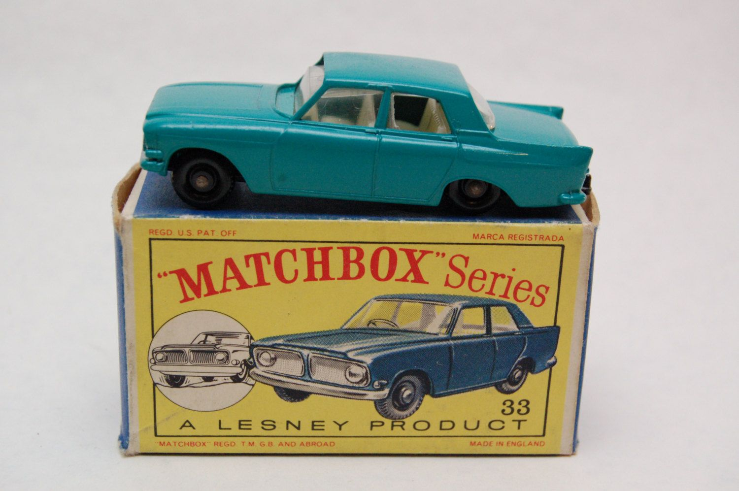 No 33 Ford Zephyr 6 Mk Iii W Original Box By Matchbox Lesney England 60 S Toy Car Great Gift Idea Stocking Stuffer Toy Car Stocking Stuffers For Dad Matchbox