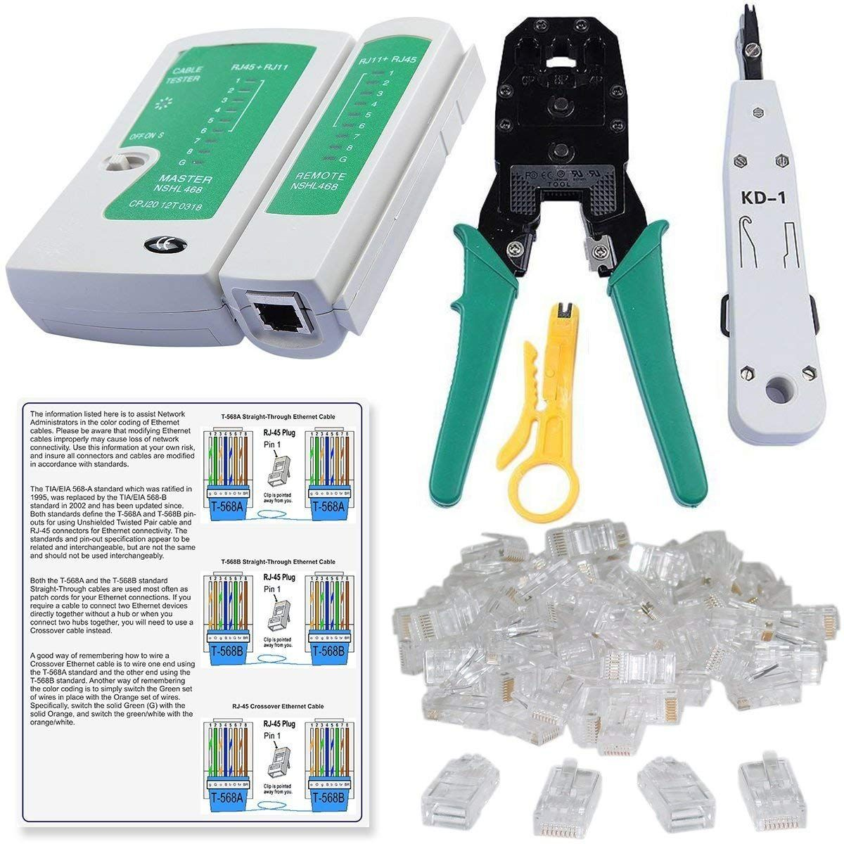 small resolution of shopee rj45 rj11 crimping tool kd 1 professional punch down lan cable tester ethernet colour coding and 20 pieces connectors combo set
