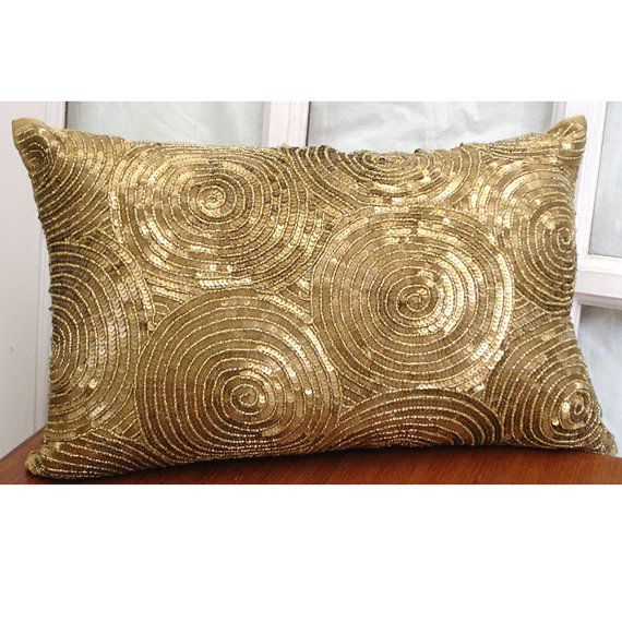 decorative oblong lumbar throw pillow cover accent pillow couch sofa 12x16 inch gold silk pillow embroidered with sequins all eyes on gold - Gold Decorative Pillows