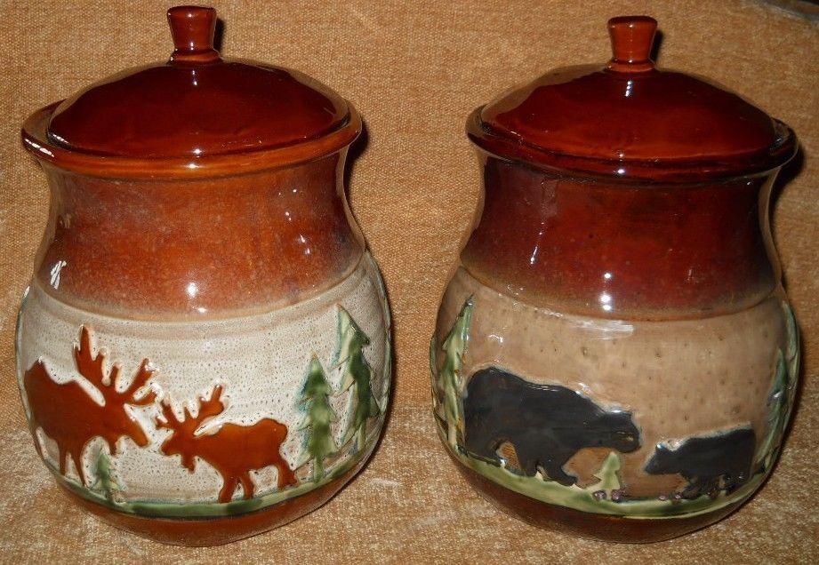 Rustic Cookie Jar Inspiration Ceramic Rustic Bear Or Moose Cookie Jar Canister Individually