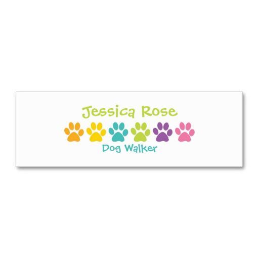 Rainbow Paw Print Dog Walker Business Card Template Dog Walker Business Cards Dog Walking Business Cards Dog Walking Business