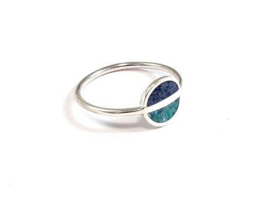 Turquoise Sterling Silver Ring, Space Ring, Minimal Ring