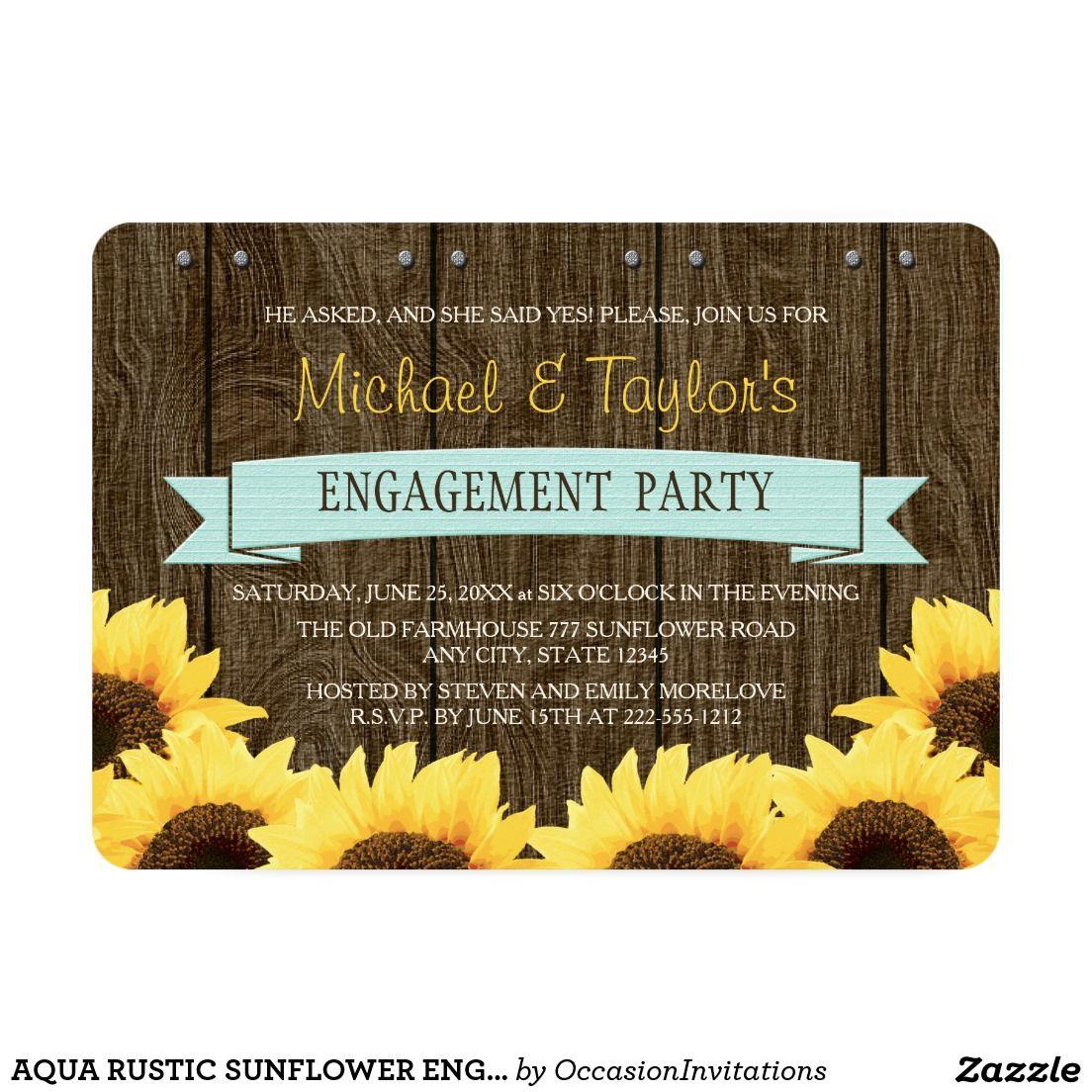 AQUA RUSTIC SUNFLOWER ENGAGEMENT PARTY CARD | Wedding :Engagement ...