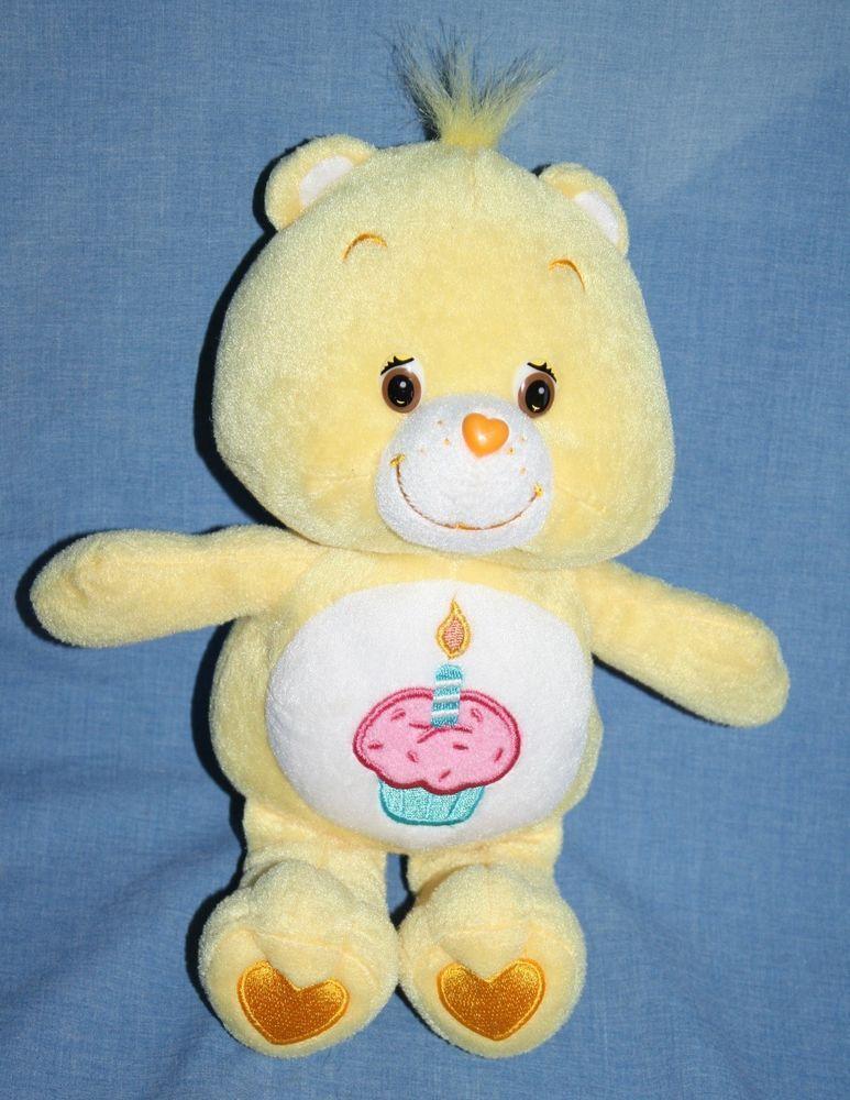 Care bears 2002 yellow birthday bear cupcake candle plush