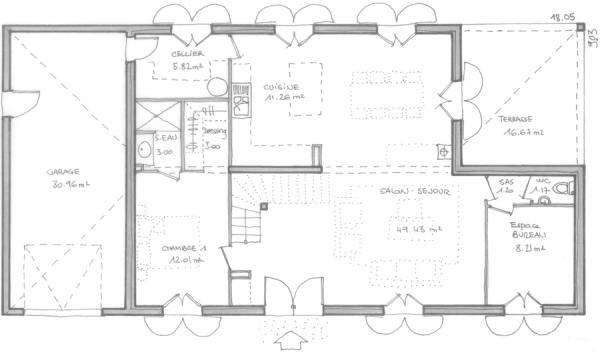 plan maison bastide moderne