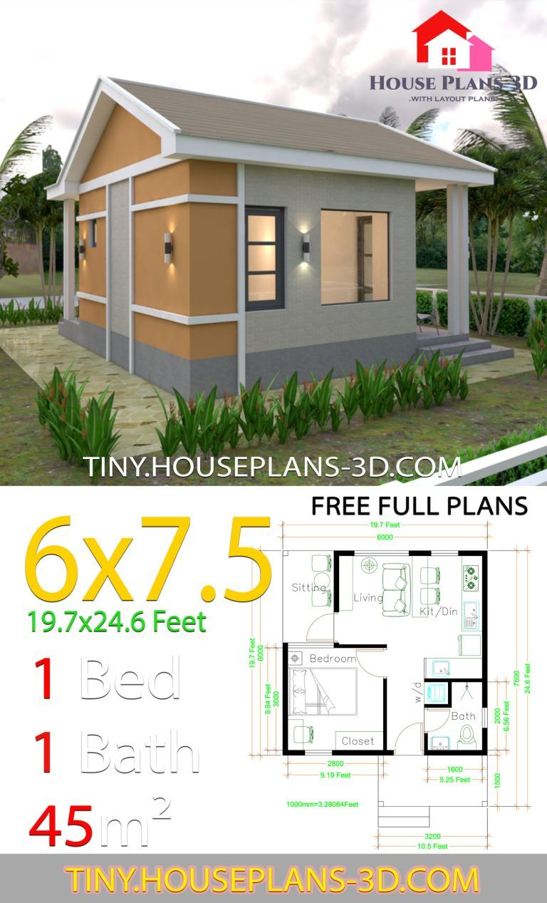 One Bedroom House Plans 6x7 5 With Gable Roof Tiny House Plans One Bedroom House Plans House Plans One Bedroom House