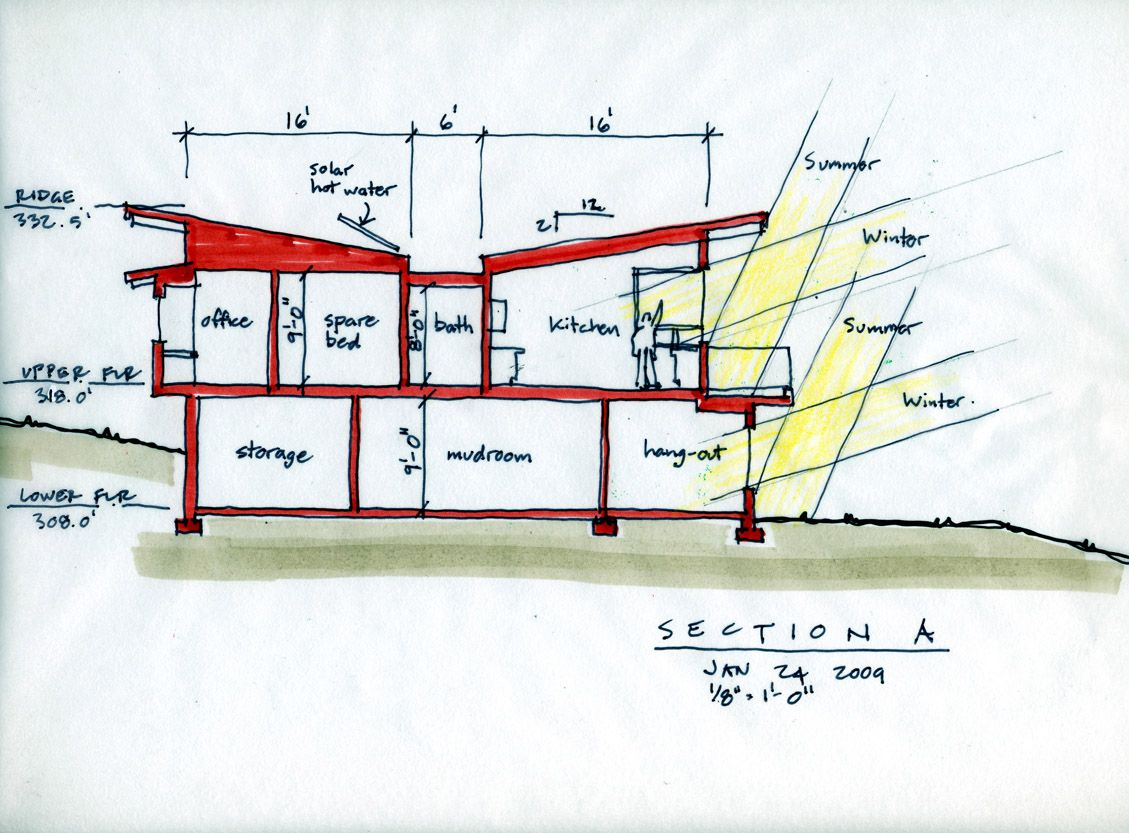 butterfly roof house plan drawing Google Search