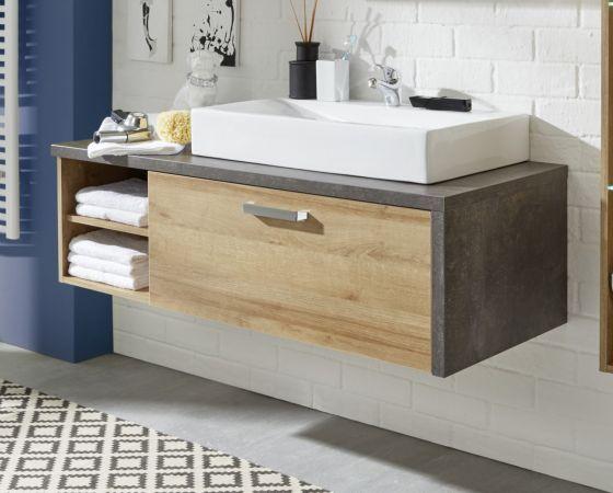 Waschbeckenunterschrank Bay Eiche Riviera Beton Grau 123x39 Cm Optional Mit Waschbecken Grauer Waschtisch Waschbeckenunterschrank Und Waschbecken