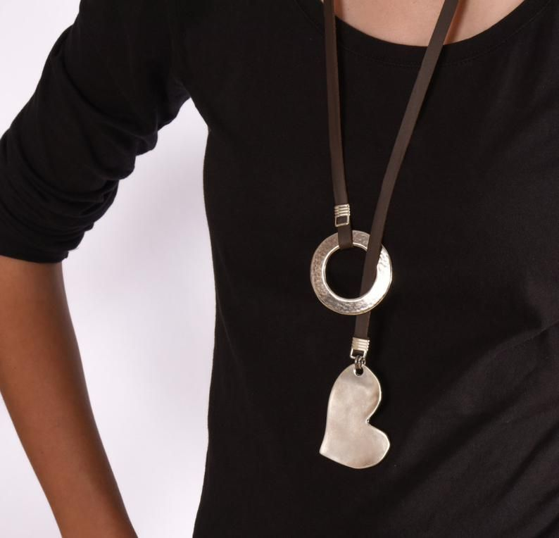 Photo of Valentine's love Leather Statement Long Necklace With Hart Pendant Silver