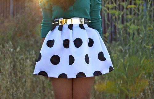 polka dotted bell skirt
