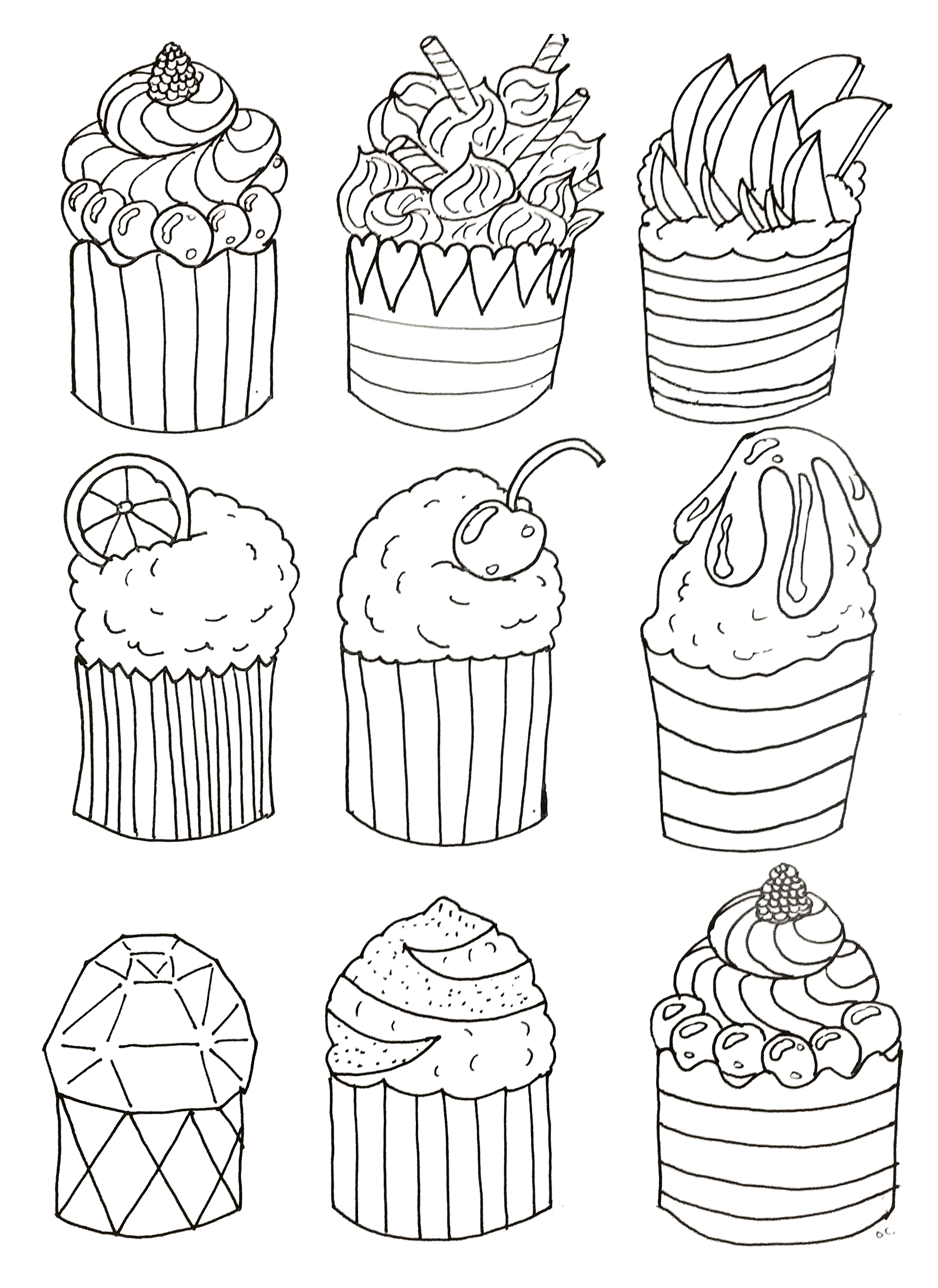 Simple cupcakes coloring page original drawing to print and color by olivier to download for free on www coloring pages adults com